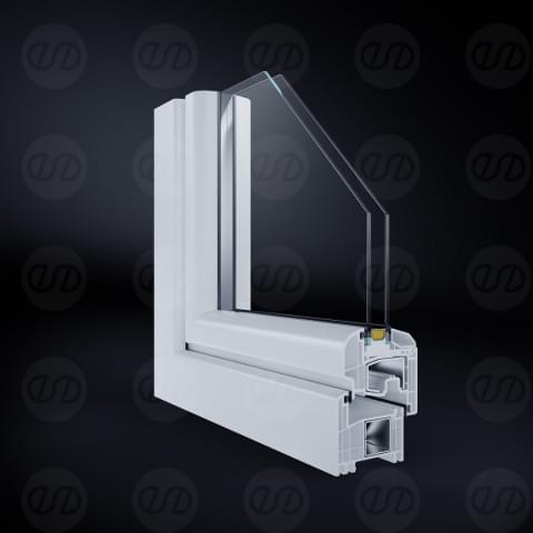 Przekrój okna wykonany dla producenta stolarki okiennej.