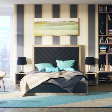 Wizualizacja produktu - łóżka wraz z modelowaniem elementów sypialni.