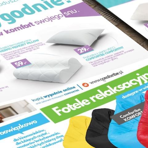 Projekt ulotki promocyjnej produktów Comfortbe.