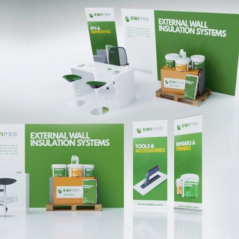 Projekt oraz wizualizacja przenośnego stoiska promocyjnego  angielskiego producenta chemii budowlanej EWI Pro.