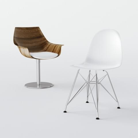 Modele krzeseł przygotowane do katalogu produktów.