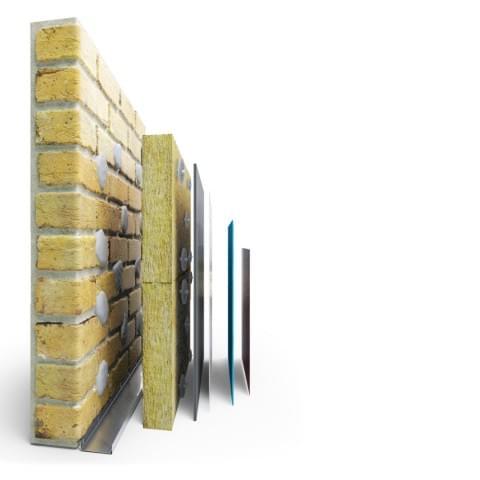 Wizualizacja przekroju ocieplenia ściany dla angielskiego producenta chemii budowlanej EWI Pro.