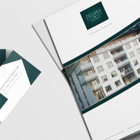 Opracowanie materiałów graficzno-informacyjnych takich jak: wizytówki, teczki firmowe, dokumenty pdf - dla firmy MTM Development Krynica Zdrój.